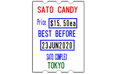 SATO three line handheld label example