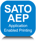 Logo platformy SATO AEP (Application Enabled Printing)
