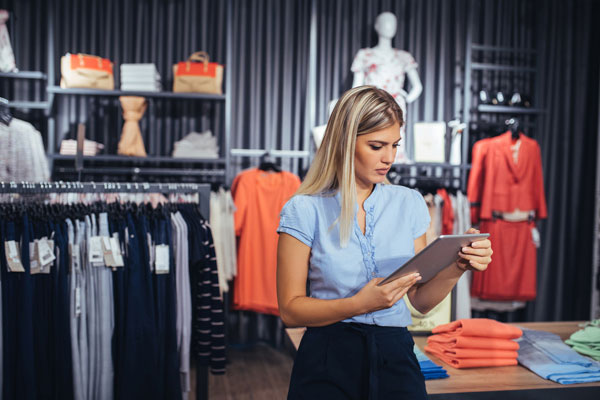 Member of staff in clothing shop