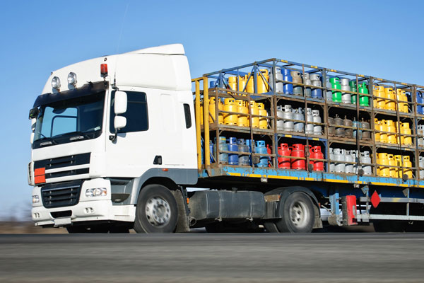 Lorry delivering large number of barrels