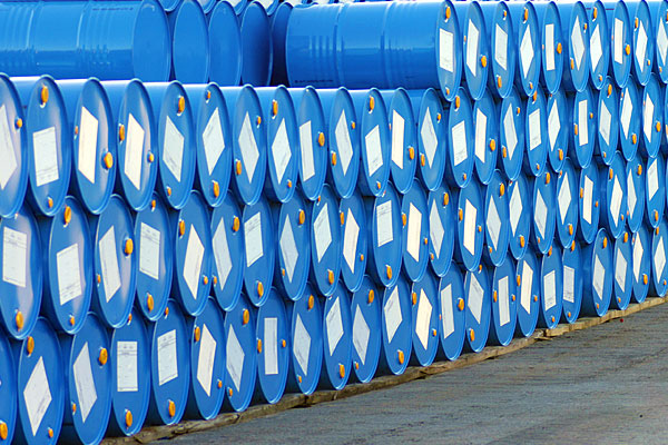 Rows of blue barrels