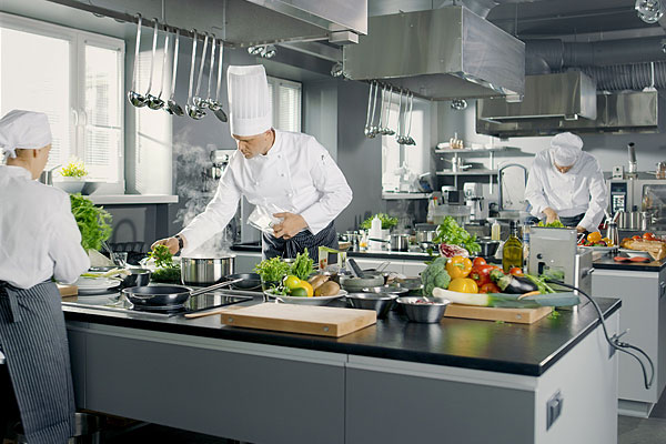 Staff team in restaurant kitchen