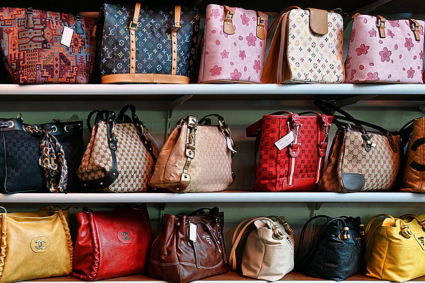Counterfeit handbags in store