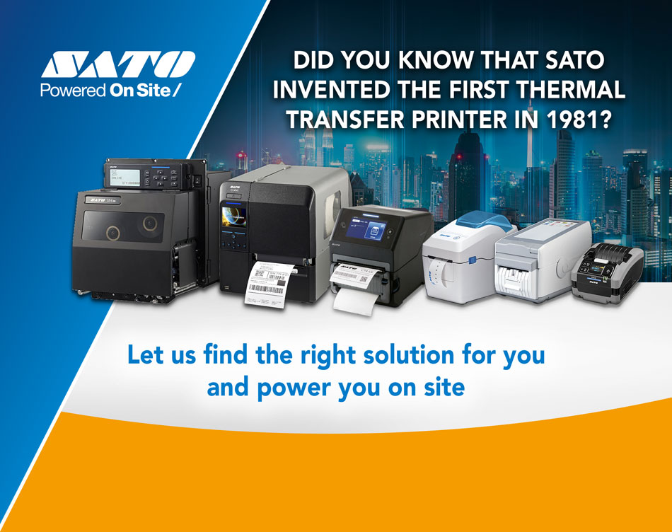 Did you know that SATO invented the first thermal printer in 1981? Let us find for you the right solution and power you on site!